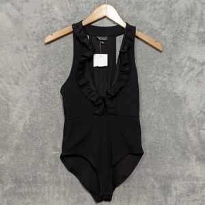 Topshop black ruffle tank bodysuit
